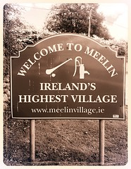 Goodbye Meelin (JulieK (moving house, very busy)) Tags: meelin sign hss bw monochrome iphone5 2016onephotoeachday cork ireland irish village rural
