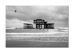The West Pier (hehaden) Tags: pier westpier ruin skeleton sea waves gulls brighton sussex mono monochrome blackandwhite sel24f18z