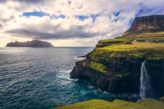 Faroe Falls (West Leigh) Tags: faroeislands atlantic ocean waterfall travel travelphotography wanderlust wander explore dream discover experience wonder inspire water sea solitude village green landscape canoneos6d clouds weather north