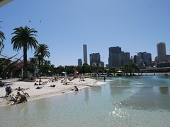 This beach is manmade by The southbank as Brisbane dont have any coastline.