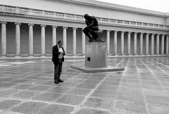 The Thinker B&W (Cathy de Moll) Tags: sanfrancisco museum rodin statue ironic texting perspective