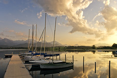 Summer Idyll (parkerbernd) Tags: mountain lake summer evening idyll sailing jolly boats ship club smal harbour jetty alps alpine foreland region sunset clouds reflection fantastic light hopfen hopfensee allgu bavaria germany