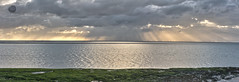 The Encore (alun.disley@ntlworld.com) Tags: sunset horizon weather panorama windfarm sky clouds sea seascape water rocks algea hilbreisland merseyside wirral england uk sunbeams nature evening