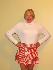 Turtleneck and skirt 1 (donnacd) Tags: sissy tgirl clit clitty tgurl jewels dressing crossdress crossdresser cd travesti transgenre xdresser crossdressing feminization tranny tv ts feminized domina donna red dress scarf heels gold crossed legs pumps shoes panties thong polka dots white blouse earrings hair black stockings tights bra fishnet corset necklace collar