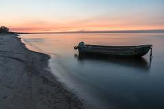 Laiva Rgas la piekrast vakara krsl (jsenniko) Tags: beach dusk sea boat