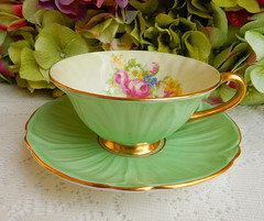 Shelley Fine Bone China Footed Cup & Saucer ~ Oleander ~ Roses Green Gold (Donna's Collectables) Tags: shelley fine bone china footed cup saucer ~ oleander roses green gold