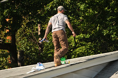 04 BEAR on the ROOF! (Violentz) Tags: male guy man roofer roof bear bearded hairy tattooed house home patricklentzphotography
