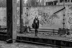 Zoe (Lumowelt) Tags: russia yaroslavl shinnik girl redhair redhead portrait abandoned beautiful autumn street     retrato blackandwhite bw  monochrome