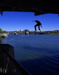 Jumping For Joy (swong95765) Tags: humor bridge funny jumper guy river joy sky skyline