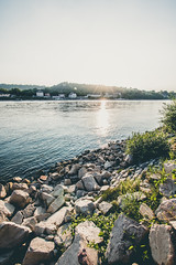 Rhine (poborny) Tags: germany deutschland canon eos 750d rhine whine water sunset blue rock rocks white green mainz