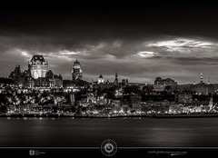 Moments before the show...  DRI III  B&W (jean271972) Tags: quebeccity qubec canada nuit night lumieres lights jean271972 jeansurprenant chateaufrontenac frontenaccastle edificeprice pricebuilding edifices buildings architecture dri digitalblending fleuvestlaurent stlawrenceriver eau water river waterfront cityscape capitalenationale unesco ville villedequbec oldquebec vieuxqubec pixelistes sky ciel nuages clouds noiretblanc bw blackwhite nb
