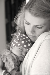Louise with baby Ruby (linda_mcnulty) Tags: sleeping blackandwhite bw baby cute love girl monochrome hat sepia mom holding sleep mother naturallight mum parent babygirl newborn polkadot newbaby dote newmother motherbaby