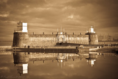 Fort Perch Rock, New Brighton (Paul-Farrell) Tags: new reflection rock mono brighton fort perch wirral
