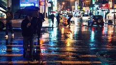 And I'm alone, out in the New York rain. (Linh H. Nguyen) Tags: life street city people urban newyork reflection colors rain night lights chinatown sony moment nex7 cinematatic