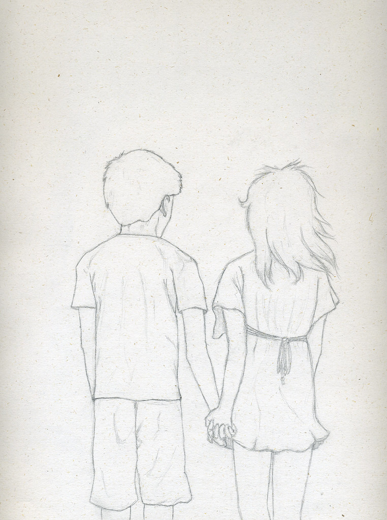 Easy Drawing Of Girl And Boy Holding Hands
