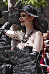 San Francisco Pride 2012 (Daluke) Tags: sanfrancisco beauty fashion model hats parade redhead gloves sanfranciscopride leathergloves mistresslilianehunt lilianehunt
