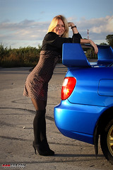 Wing Dreams (Rawcar.com Photography) Tags: blue girls sun girl grid photography model automobile rally models wing sunny automotive days blond wrc subaru impreza wrx sti spoiler prodrive rawcar rawcarcom