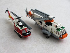 US Navy Rescue helicopters (Mad physicist) Tags: lego bell huey helicopter usnavy uh1 hh1n