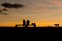 And one makes three (Photosightfaces) Tags: sunset two sky dog love bench walking couple sitting fort