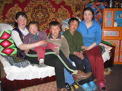 A family in their ger in Mongolia (mbphillips) Tags: nomad mongolia モンゴル 몽골 蒙古 asia アジア 아시아 亚洲 亞洲 mbphillips canonixus400 people gente 人 사람들 geotagged photojournalism photojournalist