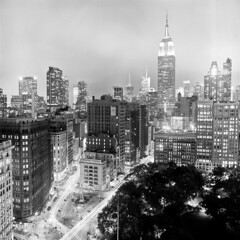 Midtown (Adam Garelick) Tags: city nyc newyorkcity blackandwhite fall 120 6x6 film monochrome architecture night mediumformat manhattan midtown hasselblad empirestatebuilding 100 2012 fujineopanacros ilfordilfosol3