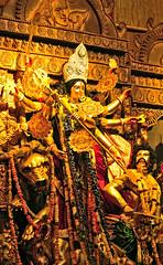 Durga Idol - 2012, Cooperative Ground, C.R.Park Delhi, India (Mukul Banerjee (www.mukulbanerjee.com)) Tags: india festival buffalo october force lakshmi feminine kali delhi goddess culture divine ganesh nikkor shiva hindu annapurna f28 saraswati newdelhi durga 2012 shakti durgapuja rituals parvati maa devi bengali d300 sati 2470mm mahamaya kartikaya crpark  mahalaya mahishasur  mahatmya   devipaksha  theinvincible durgotsava durgostav mukulbanerjeephotography mahisasuramardhini karuamayi katyaayani