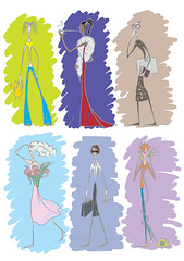 Womens (Axusha_) Tags: girls woman set illustration women different rich group cartoon style going collection romantic series characters conservative complex vector types clever modest stylish intelligent psychology introvert infantile sociable personage extrovert energetic