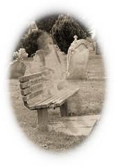 Graveyard Greeter (Chrissphotos) Tags: bw grain ghostly supernatural 52funweeks