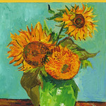 """<b>Sunflowers</b><br/>  Johnson LC'85 (Paint Chips, 2012)<a href=""""http://farm9.static.flickr.com/8470/8135231094_d1c212cd73_o.jpg"""" title=""""High res"""">∝</a>"""