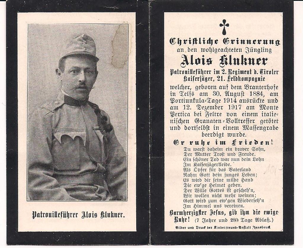 Alois klukner 12 dicembre 1917 m pertica podgora tags kaiserjäger österreichungarn sterbebild