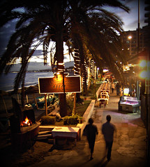 Beach Diners! ('cosmicgirl1960' NEW CANON CAMERA) Tags: sea people beach fire lights spain bars palmtrees costadelsol andalusia bodegas marbella restaraunts yabbadabbadoo