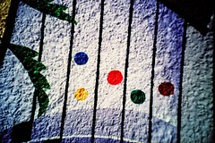 blue dot, yellow dot, red dot, green dot, brown dot (mikeasaurus) Tags: blue red brown white green rot yellow wall germany bayern bavaria lomo lca xpro crossprocessed purple wand painted ct lomolca lila gelb grn braun blau agfa vignetting weiss 100asa 2012 precisa weis expired2005 october2012