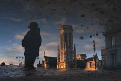 Paris, le beffroi de l'église Saint-Germain-l'Auxerrois (flallier) Tags: paris reflet reflect beffroi saintgermainlauxerrois eglise louvrerivoli louvre digital d700 reflection flaquedeau goldenhours reflected puddle flaque
