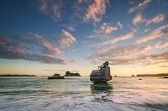Sphinx Rock (Nick Twyford) Tags: sea newzealand sky seascape clouds sunrise islands nikon rocks kayak waves wideangle nz northisland coromandel eastcoast warmlight rockstack cathedralcove colourimage mercurybay leefilters 1024mm d7000 lee06gndhard lee06gndsoft