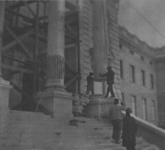 Installing pillars (South Dakota State Historical Society) Tags: city house history museum southdakota town construction community senator pierre politics capital governor government historical mitchell campaign dakota legislature huron 1904 1890 senate territory representative legislative june25 legislator dakotaterritory temporarystatecapital