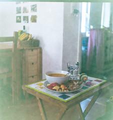 Pumpkin, melting cheese... (Maronasc) Tags: food film lunch soup analógica d comida sandwich sopa almuerzo bocadillo fujicolorsuperia400 soupandsandwich rolleiflexoldstandard621