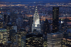 Big Apple: New York Skyline and Chrysler building (PC - My Shots@Photography) Tags: lighting nyc newyorkcity longexposure nightphotography newyork skyline skyscraper lights bluehour chryslerbuilding bigapple newyorkcitylights