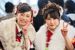 Two (karlocamero) Tags: two portrait woman color girl beautiful smile japan lady canon asian women peace vibrant duo group smiles  kimono peacesign 70200mm    fav10 seijinnohi 2013 5dmarkii