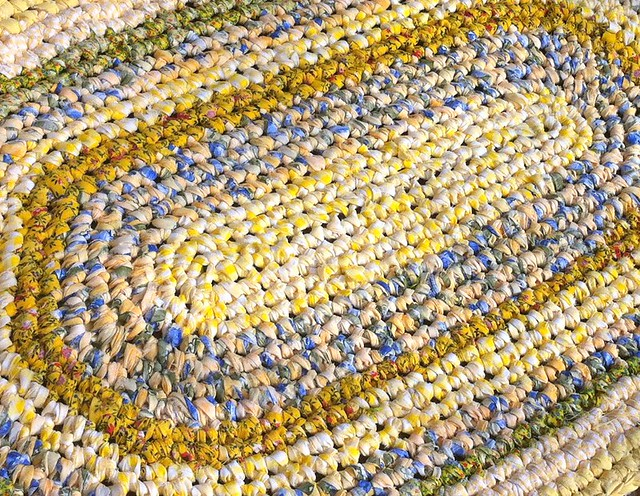 farmhouse recycled handmade crochet fabric chic crocheted oval ecofriendly oblong ragrug rugmaking frenchcountry upcycled countryfrench frenchprovencial frenchchic countrydecor countrychic shabbydecor farmhousedecor frenchprovencal shabbyrug crochetdecorhomedecorfarmhousedecor frenchprovencaldecor yellowandbluedecor