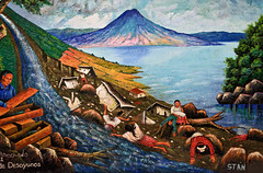 Mayan painting depicting hurricane Stan and the disaster in Panabaj a short boat ride away. (eriktorner) Tags: art painting volcano gallery maya guatemala hurricane stan sanjuan atitlan mayan landslide mudslide sanpedro indigenous sanpedrolalaguna panabaj sanjuanlalaguna fotoeriktrner eriktornernu