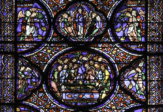 Dormition and Assumption (Lawrence OP) Tags: assumption blessedvirginmary ourlady chartres cathedral france stainedglass medieval angels apostles