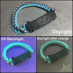The results from yesterday's fun time and a bit from today. Titanium, Blue GITD rings paired with Blue Aurora V1.  or  ? Ps it was a tough MF Titanium in this gauge is NO JOKE!  #jenniferrayjewelry #carbonfiber #titanium #git (JenniferRay.com) Tags: ray jennifer jewelry carbon custom fiber exclusive paracord jrj instagram