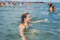 Tracey in the water (andrewkatchen) Tags: asburypark newjersey jerseyshore beach nikon film 35mm portra400 n6006 w