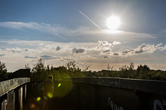 Low Sun (The Crewe Chronicler) Tags: graffiti lowsun lensflair clouds cloudporn cloud vapourtral bridge railwaybridge crewe cheshire canon canon7dmarkii