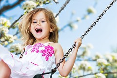 Three year old girl swinging in tree (Tonya B4) Tags: 4331 child playing playground littlegirls swing laughing cheerful outdoors summer childhood smiling happiness park swinging action fun humanface joy 23years playful cute motion excitement redhair russianfederation