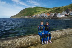 Snorkeling off Crovie pier (favmark1) Tags: snorkeling crovie scotland morayfirth banffshire 2016 daughters abbey phoebe