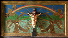 LLandeloy, Pembrokeshire (Vitrearum (Allan Barton)) Tags: llandely pembrokeshire church artsandcraftsmovement jcoatescarter reredos painted rainbow christ majesty