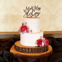 Rustic Wedding Cake (tasteoflovebakery) Tags: white rustic two tier mccoy topper red flowers wood base