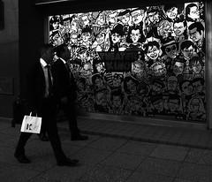 "Memories of RICOH's PX 5-15 (HAKUDO is busy (""_"")) Tags: ricoh px black white street streetphotography japan sapporo japon hokkaido man men"