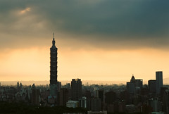 Taipei's Gathering Storm (bluetrayne) Tags: storm stormclouds orange sky cloudy ominous landscape cityscape landscapephotography skyline skyscraper taiwan taipei taipei101 clouds   101